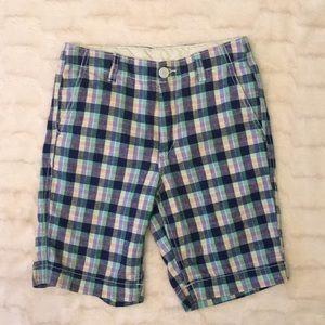 Gap Kids Linen Flat Front Plaid Shorts Sz 14Slim